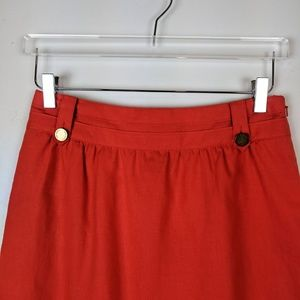 Tory Burch Skirts - Tory Burch Roselin Linen Skirt Coral Orange NEW 4